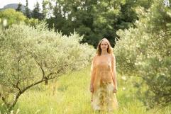 robe en twill de soie et tunique courte en mousseline de soie teinture végétale